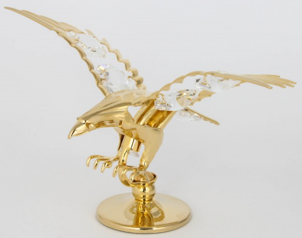 Adler Kristallglas Figur goldfarben MADE WITH SWAROVSKI ELEMENTS