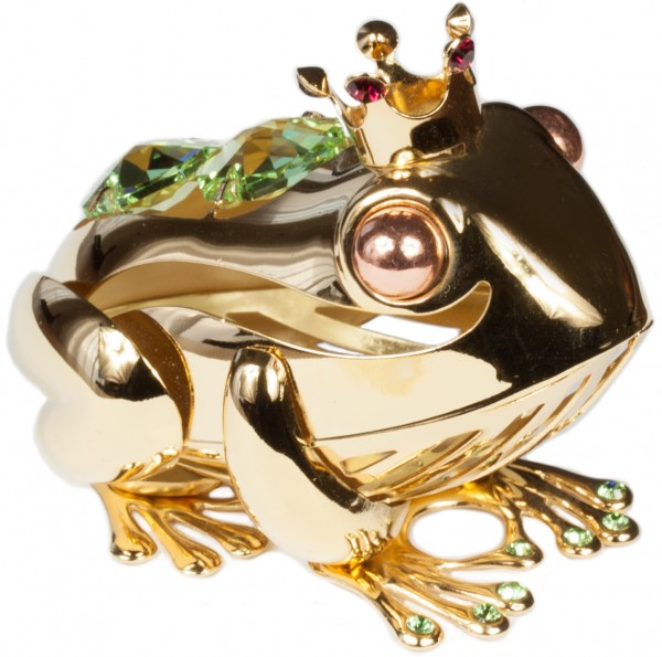 Frosch mit Krone Kristallglas Figur goldfarben MADE WITH SWAROVSKI ELEMENTS