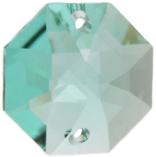 5x Oktagon 14mm türkis/ antique green - Swarovski® Kristalle