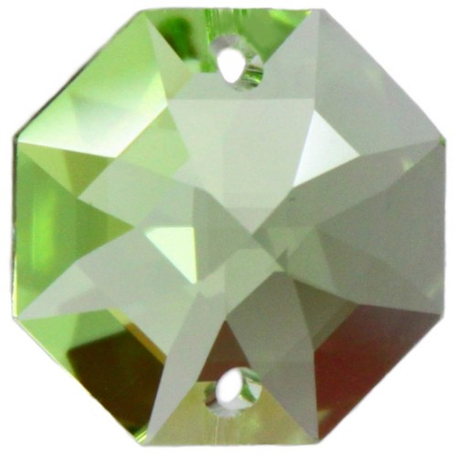 5x Oktagon 14mm grün/ light peridot - Swarovski® Kristalle