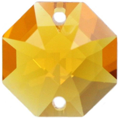 5x Oktagon 14mm gelb, orange/ topaz - Swarovski® Kristalle